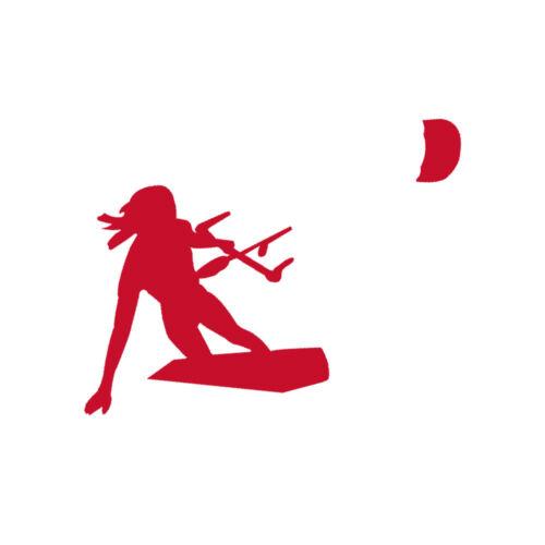 Girl Kiteboarding Vinyl Decal Sticker in Dark Colors