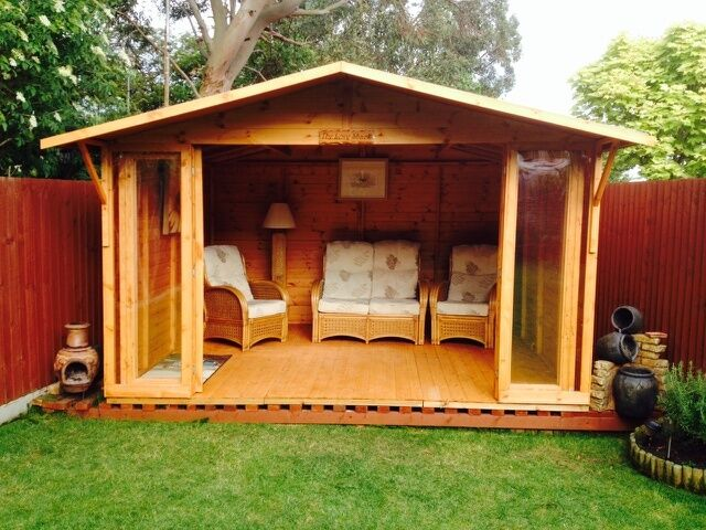 12x8 THE CHESTER SUMMER HOUSE with bi fold doors and 4 extra windows on rear