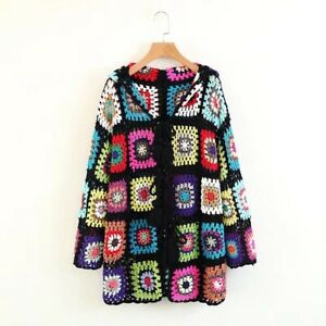 Womens-Colorful-Floral-Handmade-Crochet-cable-Chunky-Knit-Cardigan-Long-Sweater