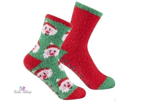 2 pk Kids Xmas Socks Girls Boys Christmas Socks Santa Rudolph Size Antislip ABS