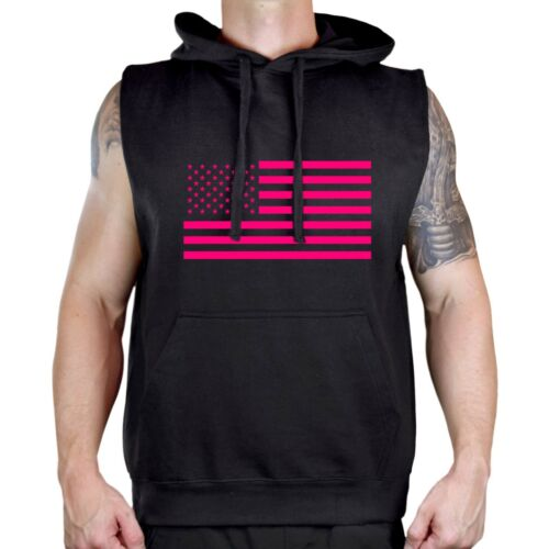 Men/'s Pink American Flag Black Sleeveless Vest Hoodie Workout Breast Cancer V477
