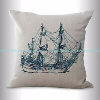 Us Seller, Sailing Boat Travel Coastal Cushion Cover Throw Pillow Cover Cheap