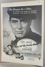 """1954 Film Ad Clipping """"None But the Lonely Heart"""" Cary Grant Ethel Barrymore"""