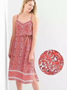 NEW-Gap-Double-Strap-Cami-Dress-Red-Floral-Print-XS