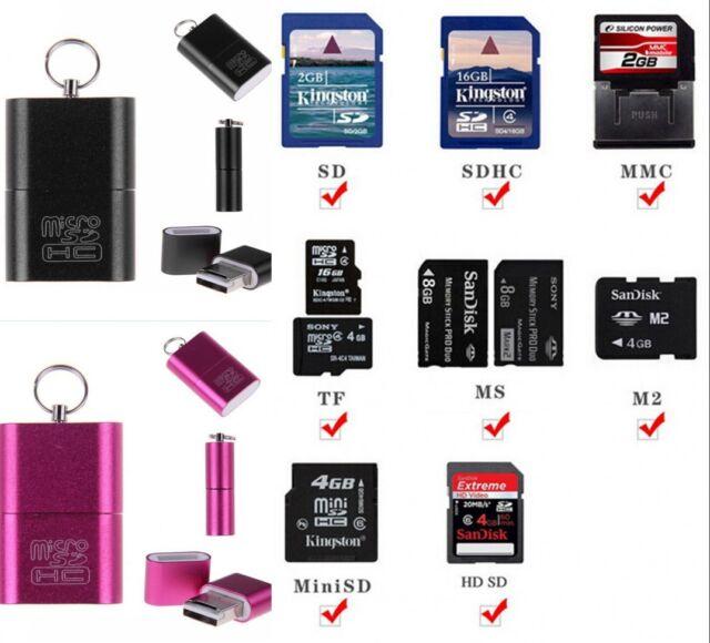 High Speed Mini USB 2.0 Micro SD TF T-Flash Memory Card Reader Adapter Keychain