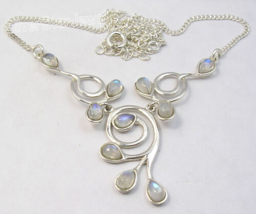 "925 Sterling Silver Rainbow Moonstone gemset Collier 16.8/"" 9.6 G"