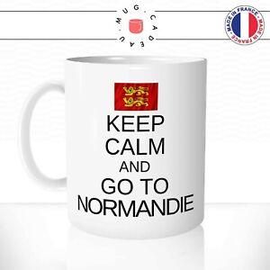 Mug Keep Calm And Go To Normandie Normand Vacances Drapeau Fun Tasse Idée Cadeau