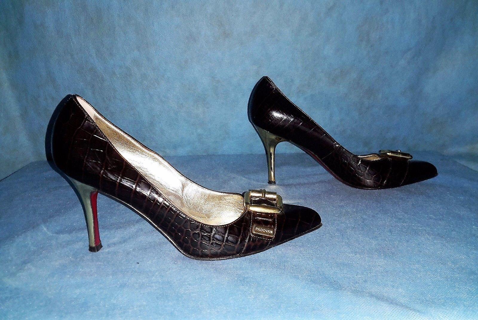 shoes escarpins LUCIANO PADOVAN tout cuir brown p 38 fr SUPER ETAT