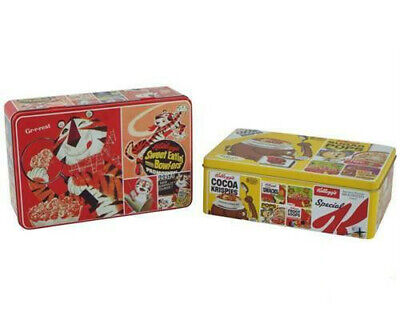 VINTAGE STYLE KELLOGGS FROSTED FLAKES HINGED METAL STORAGE TIN BOX CONTAINER