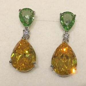 e12b2a16d Image is loading P-Designer-large-yellow-citrine-peridot-white-gold-