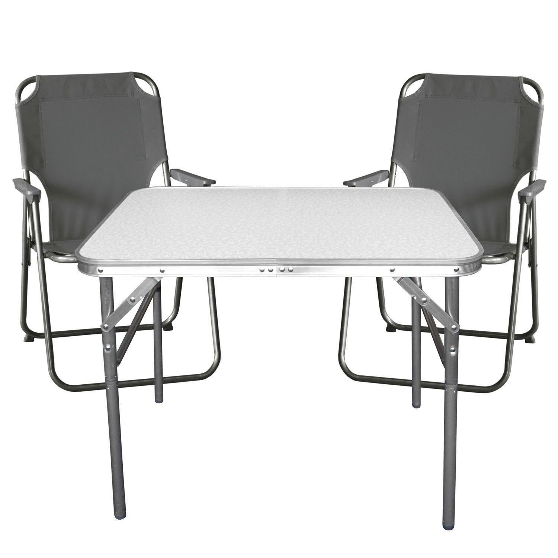 Campingmöbel Balkonmöbel Set Garnitur Aluminium Klapptisch + Klappstuhl 2x Klappstuhl + Stone f54835