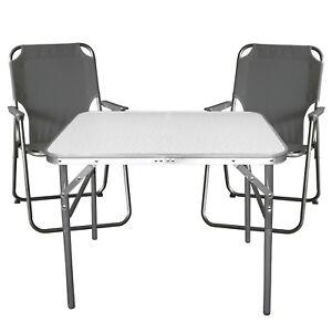 Campingmobel Balkonmobel Set Garnitur Aluminium Klapptisch 2x