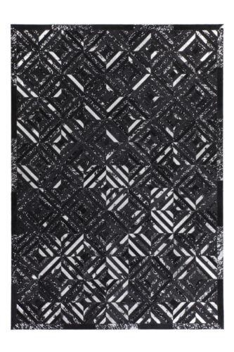Tapis Flachflor Modern Cuir Tapis Fait Main Noir Argent 120x170cm