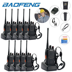 10-x-BaoFeng-BF-888S-Walkie-Talkie-16CH-UHF-400-470MHZ-Two-Way-Radio-Earpiece