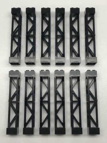 2x2x10 triangular vertical support post 12 Piece Lego Black Support Girder Lot