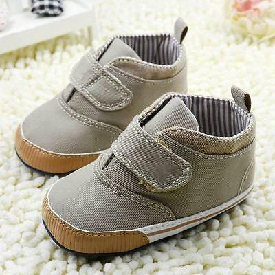 0-18M Toddler Kids Boys High Crib Shoes Soft Sole Infant Ankle Canvas Prewalker