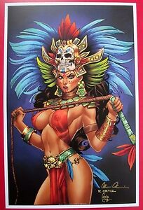 LADY DEATH AZTEC QUEEN art PRINT (NM) ORTIZ 11x17 SIGNED PULIDO w/COA HTF! Grimm