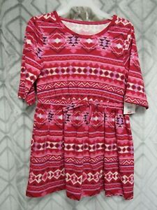 New-Faded-Glory-Dress-Size-XS-4-5-Girls-Red-1-2-Sleeve-Elastic-Waist-Casual