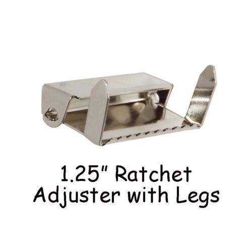 "Adjustable Suspender Slides Nickel 10-1.25/"" Ratchet Adjusters with Legs"