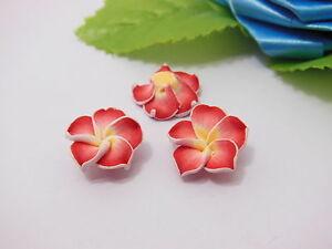 100-Red-Fimo-Beads-Frangipani-Jewellery-Finding-1-5cm
