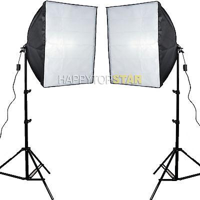 2 PCS 60 x 60cm Photo Video Studio Light Lamp Bulb Tube CFL Softbox +Light Stand