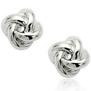 1b235e1c6 Image is loading Plain-white-gold-knot-stud-earrings-quality-jewellery-