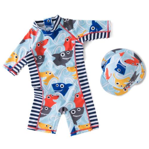 Sun safe Bathing Swimming Costume New Kids Boys Rash Guard Swimsuit UV 50 Hat