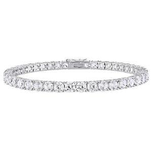 Amour Silver 14 1/4ct TGW White Sapphire 7.25-inch Tennis Bracelet