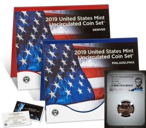 """NGC MS69RD 2019 UNCIRCULATED COIN SET w// FIRST /""""W/"""" LINCOLN CENT LINCOLN LABEL"""