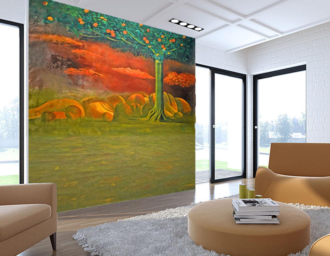 3D 3D 3D Orangen Baum Terrine 96 Tapete Wandgemälde Tapete Tapeten Bild Familie DE   Günstige     76e481