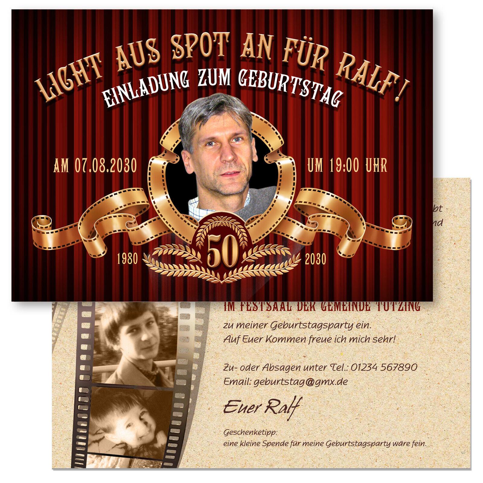 Einladungskarte Geburtstag – Kino, Filmstreifen Variante 2   | Online Outlet Store  | Sale Outlet