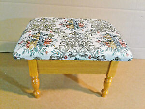 Details About Tiny Warm Oak Finish Ottoman With Storage Tapestry Upholstered