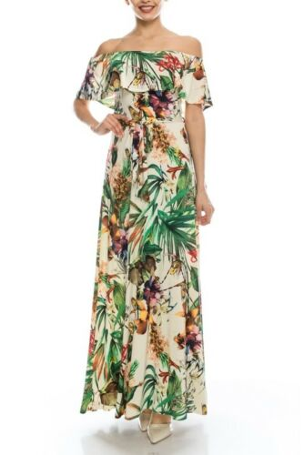 Janette Fashions Off Shoulder Ivory Green Tropical Floral Print Maxi Dress S