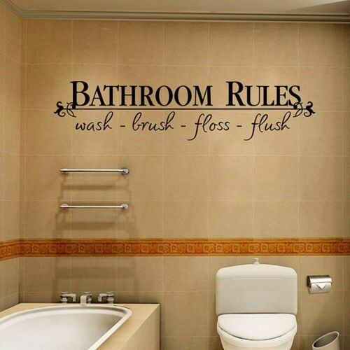 """Waterproof Home Art Wall Quote Stickers /""""Bathroom Rules/"""" Decoration Decals Home"""