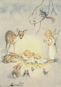 Postkarte: Erica v. Kager - Das Christkind, umgeben von Waldtieren u. Engel