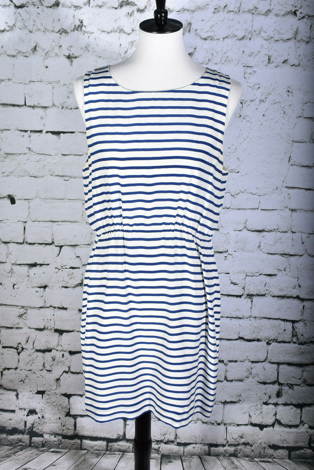 J CREW Größe 12 100% Silk Blau Weiß Striped Dress Knee Length Sleeveless Blouson