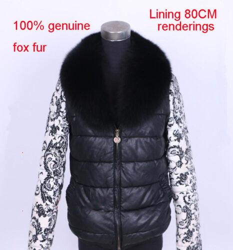 Black Real Genuine Big Farm Fox Fur Collar Scarf Wrap Shawl Neck Cape 90//100cm