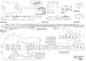 fender bass electric guitar plans full scale detailed technical plans ebay. Black Bedroom Furniture Sets. Home Design Ideas