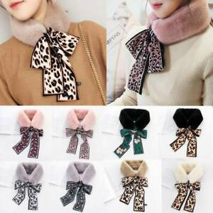 Fur Ribbon Womens Tied Collar