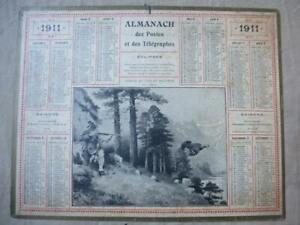 Calendrier Poste.Details Sur Calendrier Poste Et Telegraphe Annee 1911 Illustration Chasse Au Tyrol
