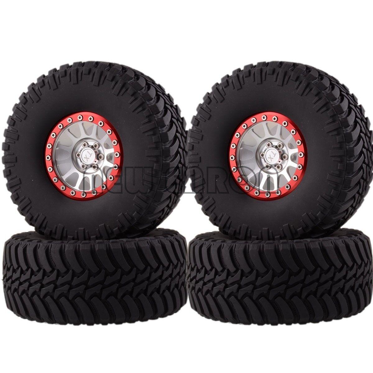 Plata-Rojo De Aluminio 2.2  mm Wheels & Super Swamper Neumáticos para 1 10 Crawler