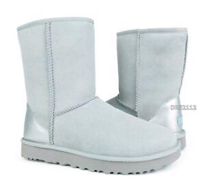 47bcb534abb Details about UGG Classic Short II Metallic Grey Violet Suede Fur Boots  Size 10 *NIB*