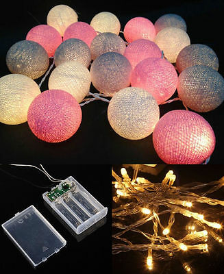 Battery Operated LED 20 mixed Gray Pink White Cotton Ball String Lights Fairy