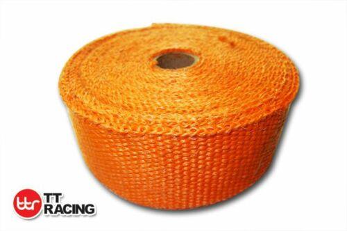 "Orange Fiberglass Exhaust Heat Wrap 2/"" x 33/'F 10M 10 Stainless Steel Ties Car"