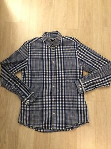 H-amp-M-Blue-White-Long-Sleeve-Men-039-s-Button-Down-Shirt-Cotton-Checkered-Size-M