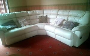 Image Is Loading 6 Seater Reclining Curved Corner Sofa REAL LEATHER