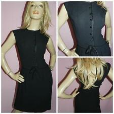 VINTAGE 60s BLACK MOD BOW FRONT SHIFT DRESS 10 S MODETTE MAD MEN