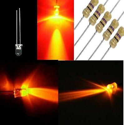 RESISTENZE OMAGGIO 25 diodi led 3 mm arancione ambra LUCE DIFFUSA