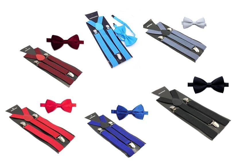 Hosenträger Fliege Set 3 Clip Damen Herren Set Y-Form Schmal Suspender Unisex