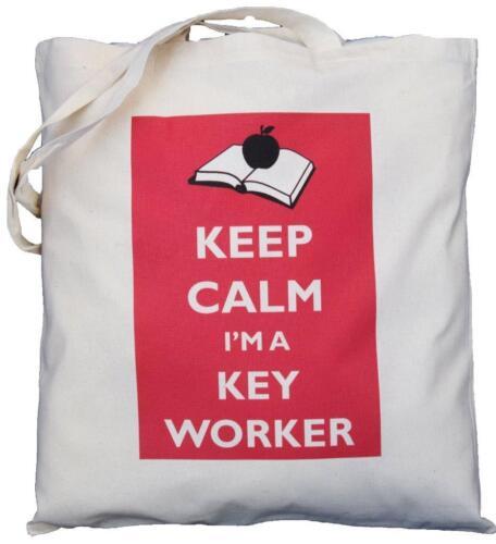 Keep Calm I'm un lavoratore chiave-Cotone Naturale Borsa a tracolla-Tote-Scuola Regalo
